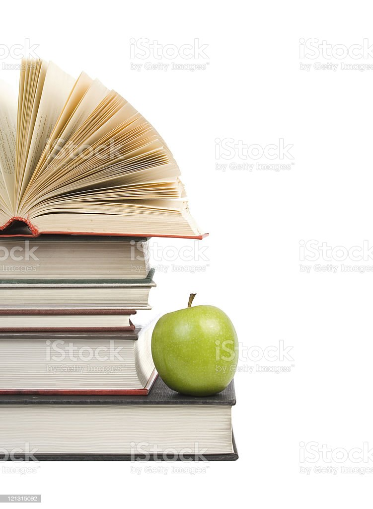 book stack with apple royalty-free stock photo