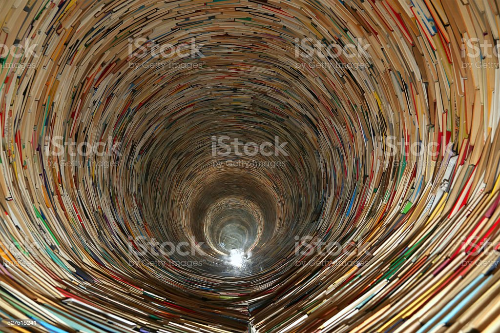book tunnel in Prague library stock photo