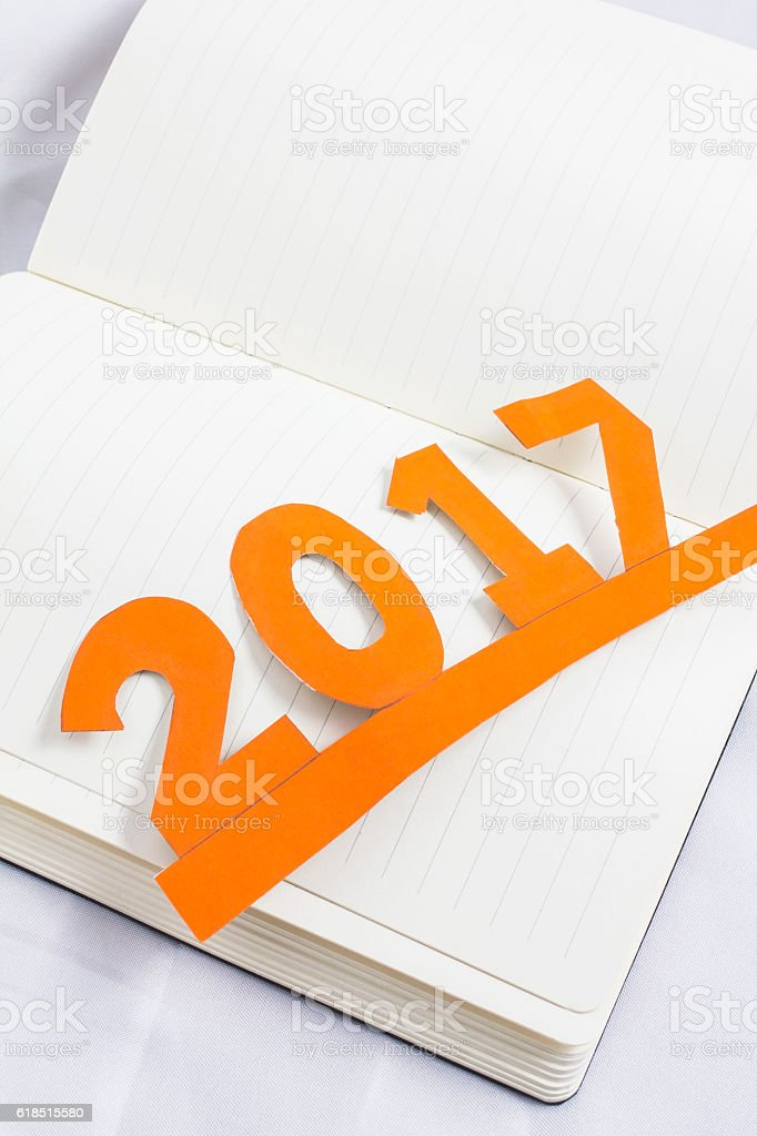 book was launched in 2017 and the New Year. stock photo