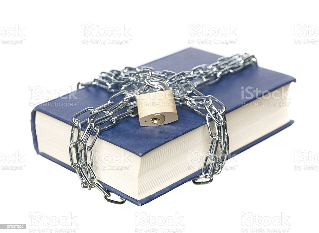 Book with a chain stock photo