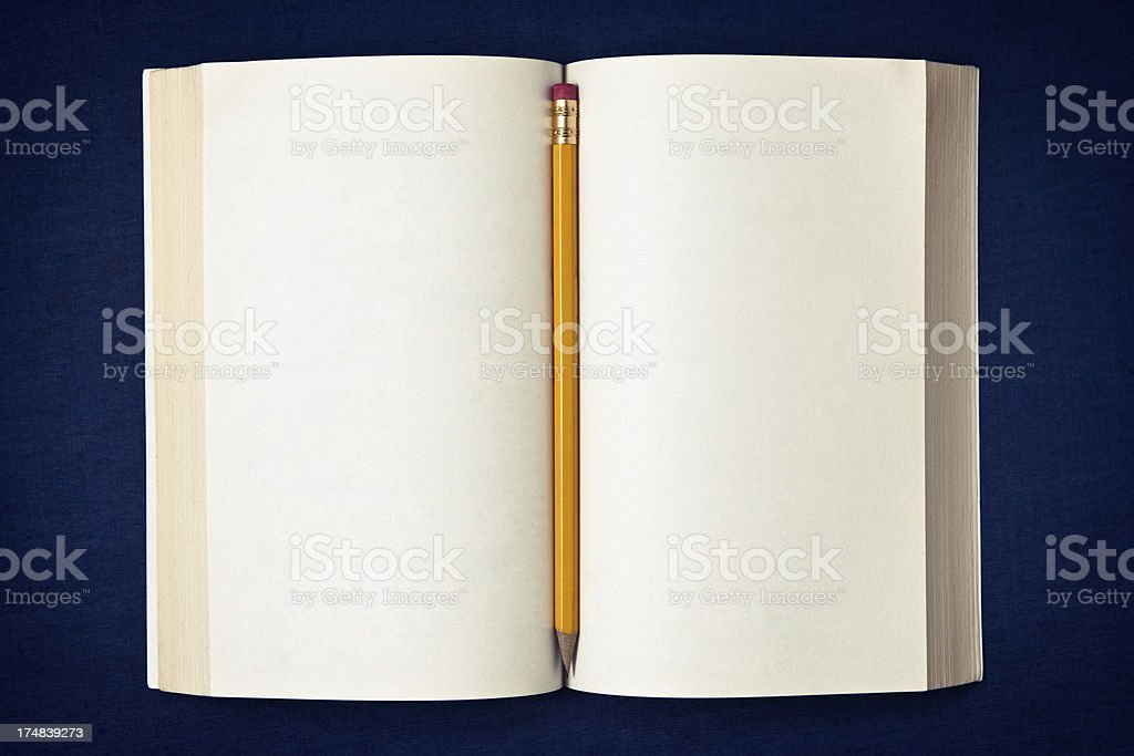 Book with blank pages and pencil royalty-free stock photo