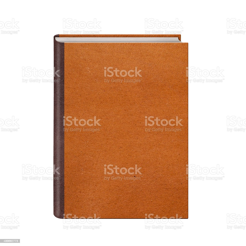 Book with brown leather hardcover isolated stock photo