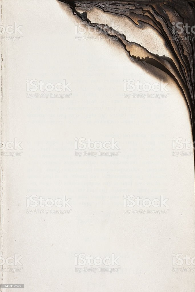 Book with burnt edge stock photo