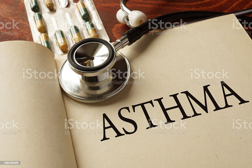 Book with diagnosis Asthma. Medic concept. stock photo
