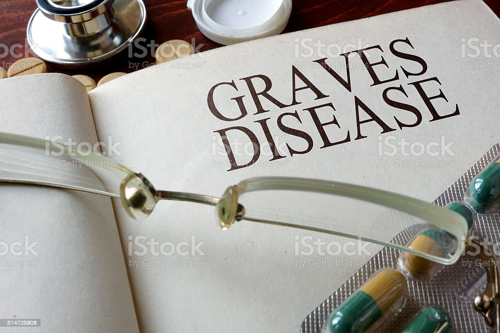 Book with diagnosis Graves disease and pills. stock photo