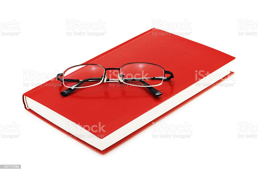 Book with Eyeglasses (isolated on white) royalty-free stock photo