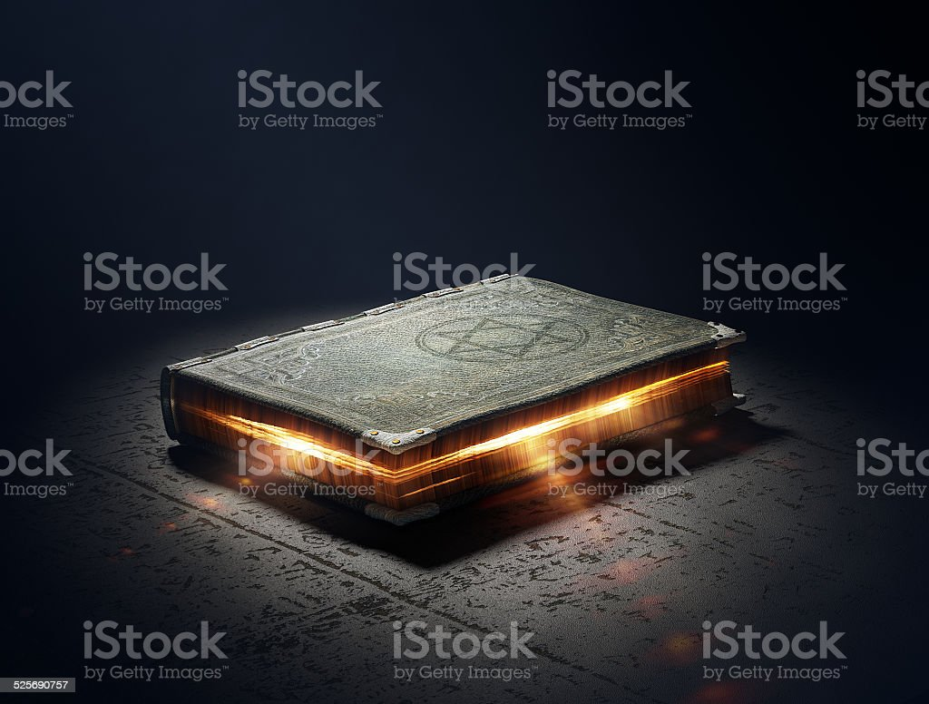 Book with magic powers stock photo