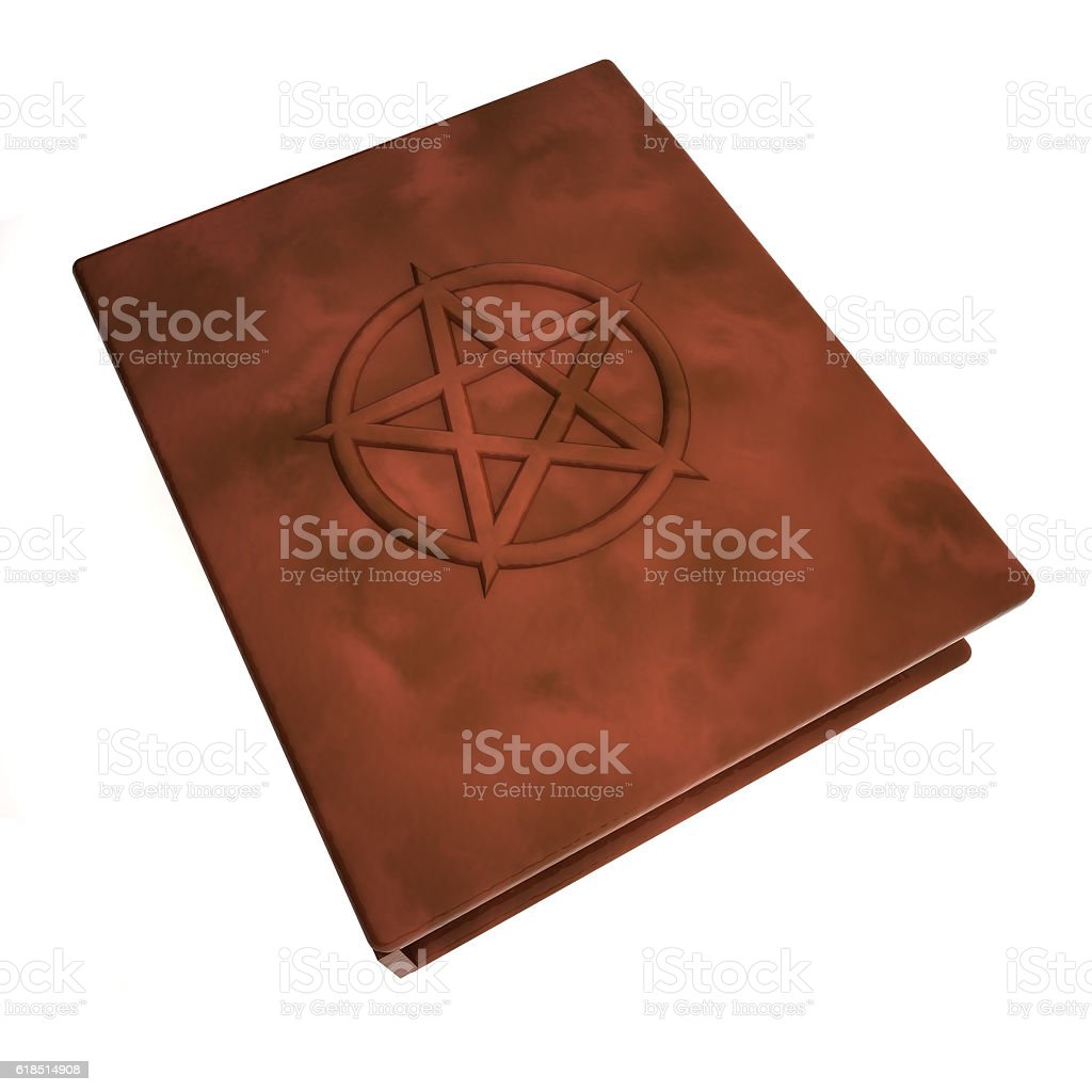 Book with pentacle over the cover stock photo