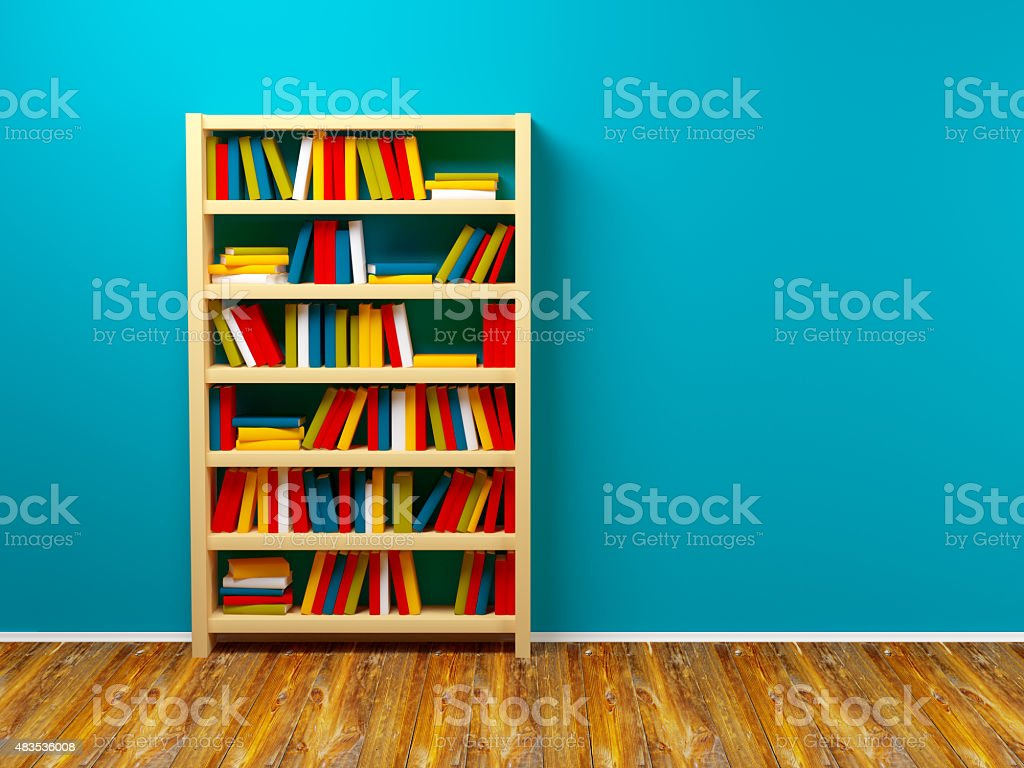 bookcase blue wall stock photo