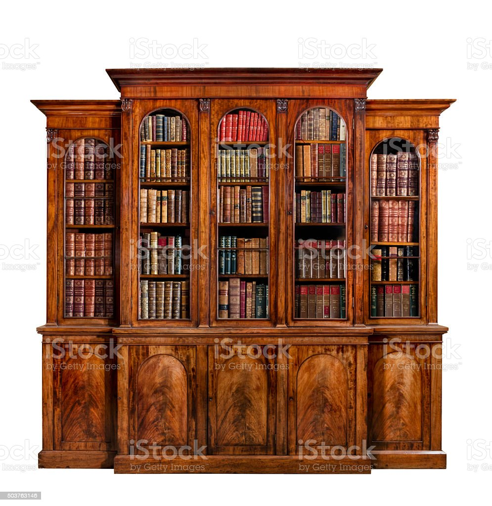 Bookcase dresser breakfront old antique English with books stock photo