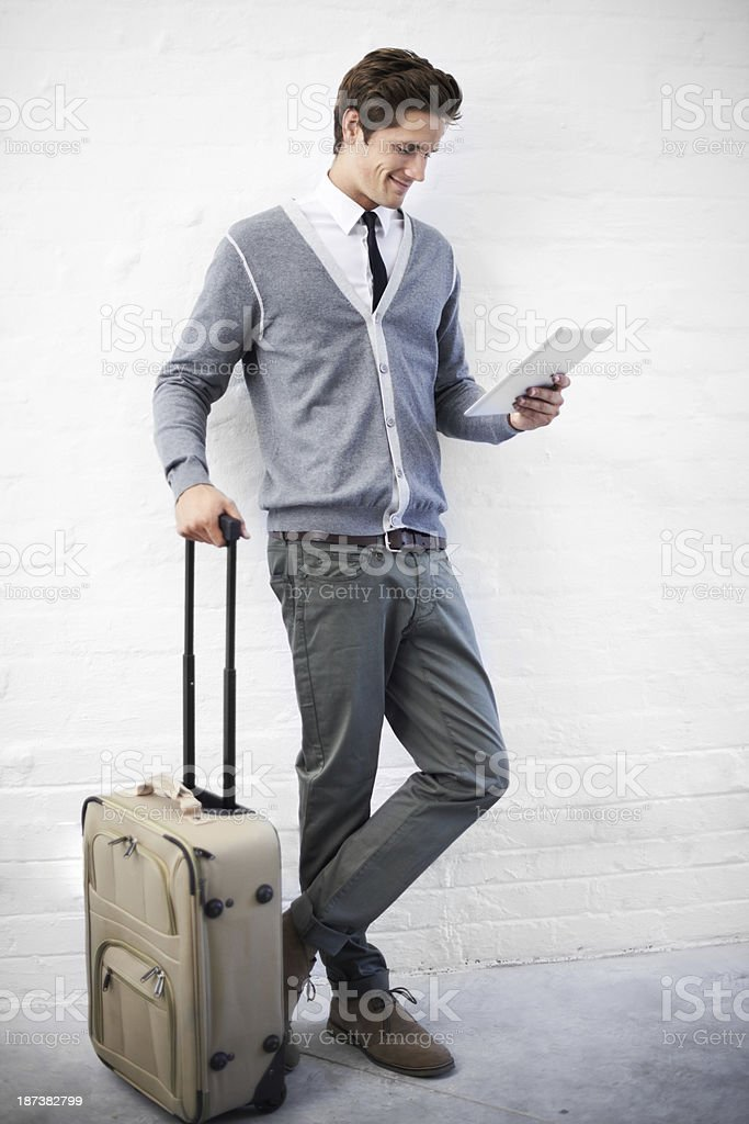 Booking a flight online royalty-free stock photo