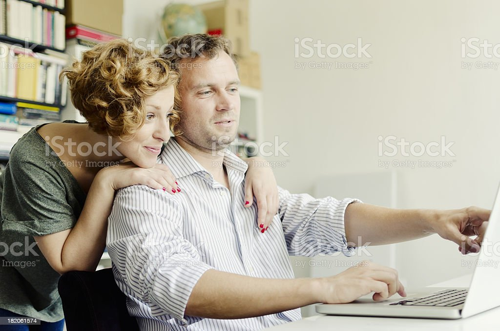 Booking a holiday on internet royalty-free stock photo