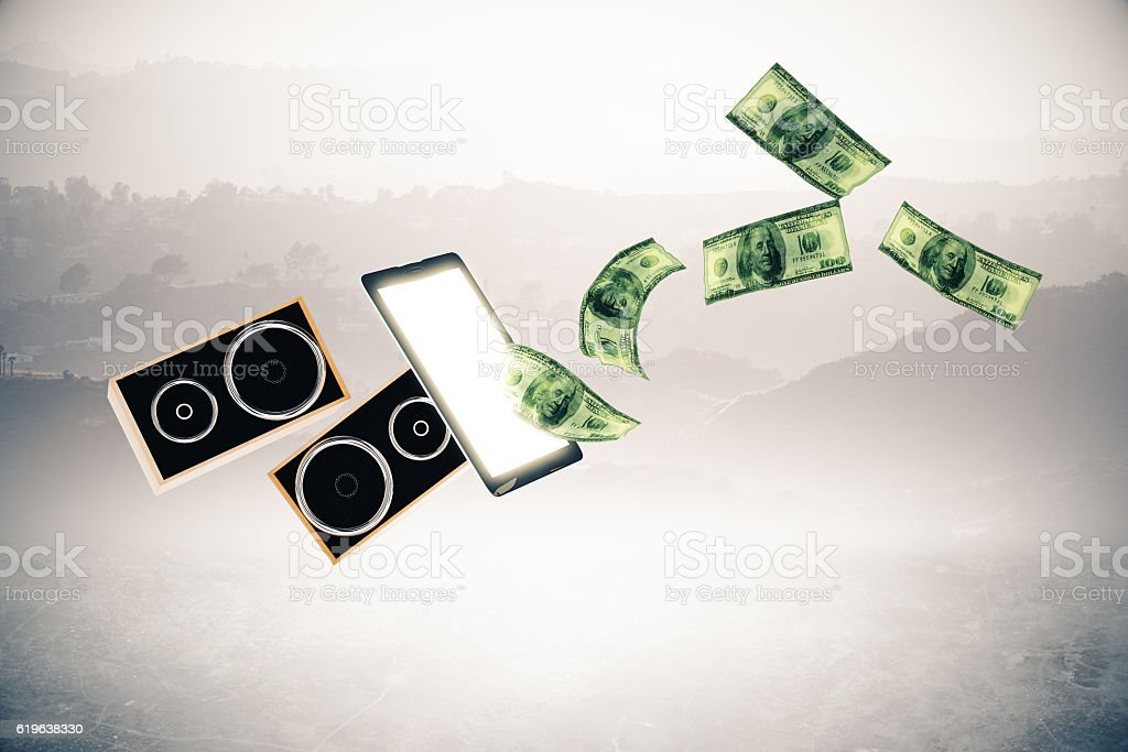 Booking concert tickets online concept stock photo