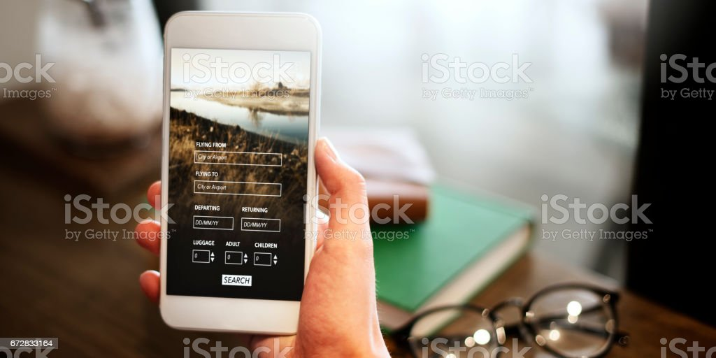 Booking Flight Travel Website Concept stock photo