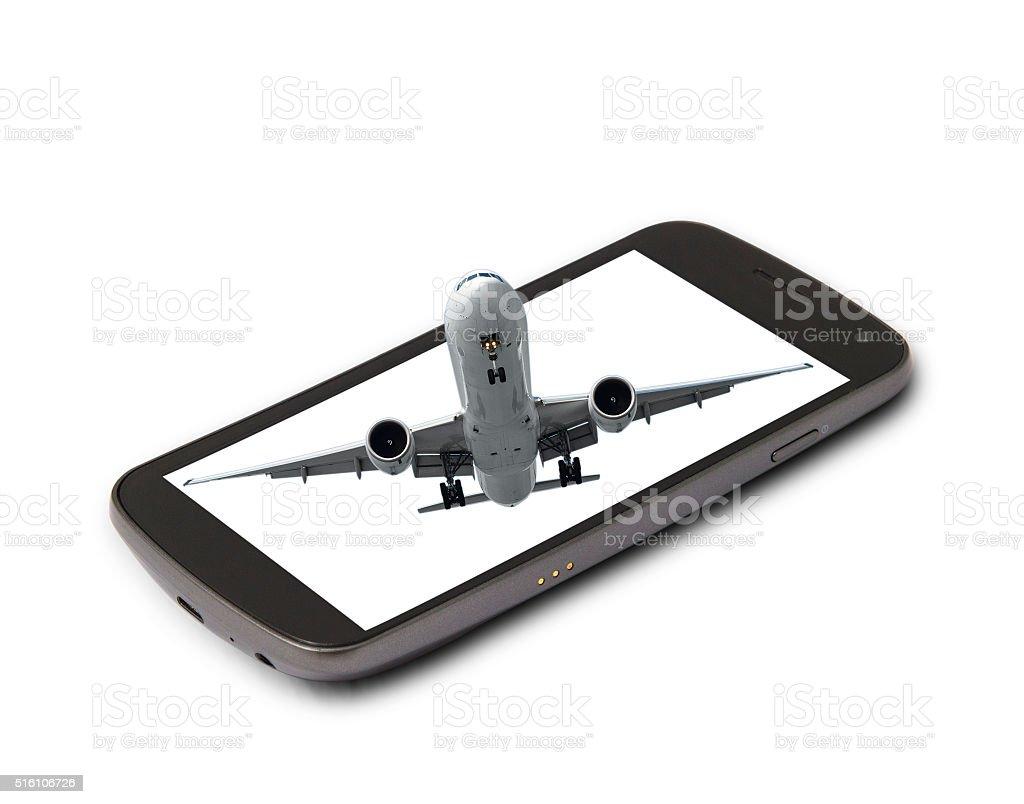 Booking online flight ticket stock photo