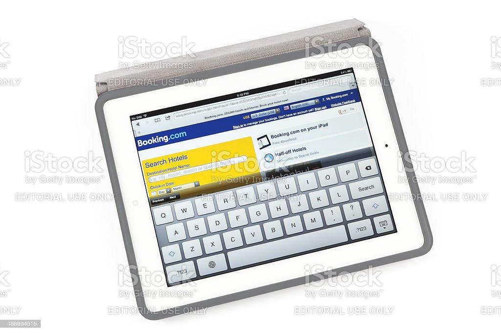 Booking.com on New iPad royalty-free stock photo