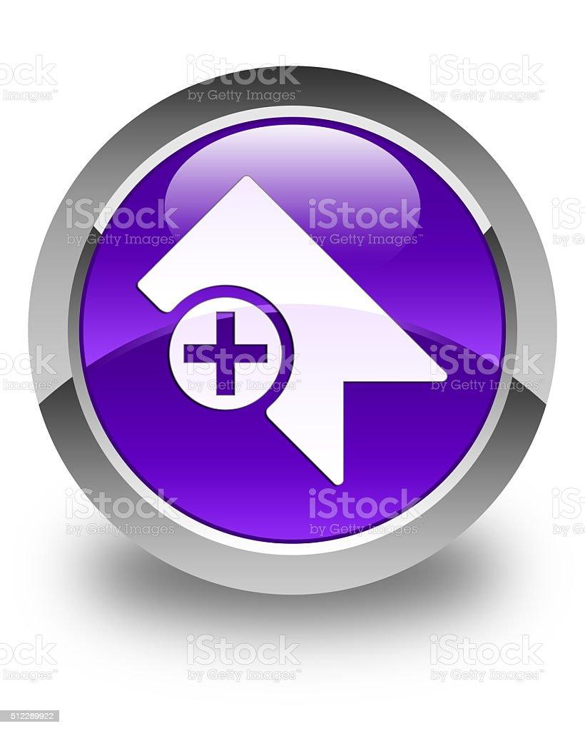 Bookmark icon glossy purple round button stock photo
