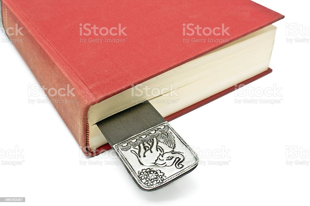 Bookmark in a book isolated on white stock photo
