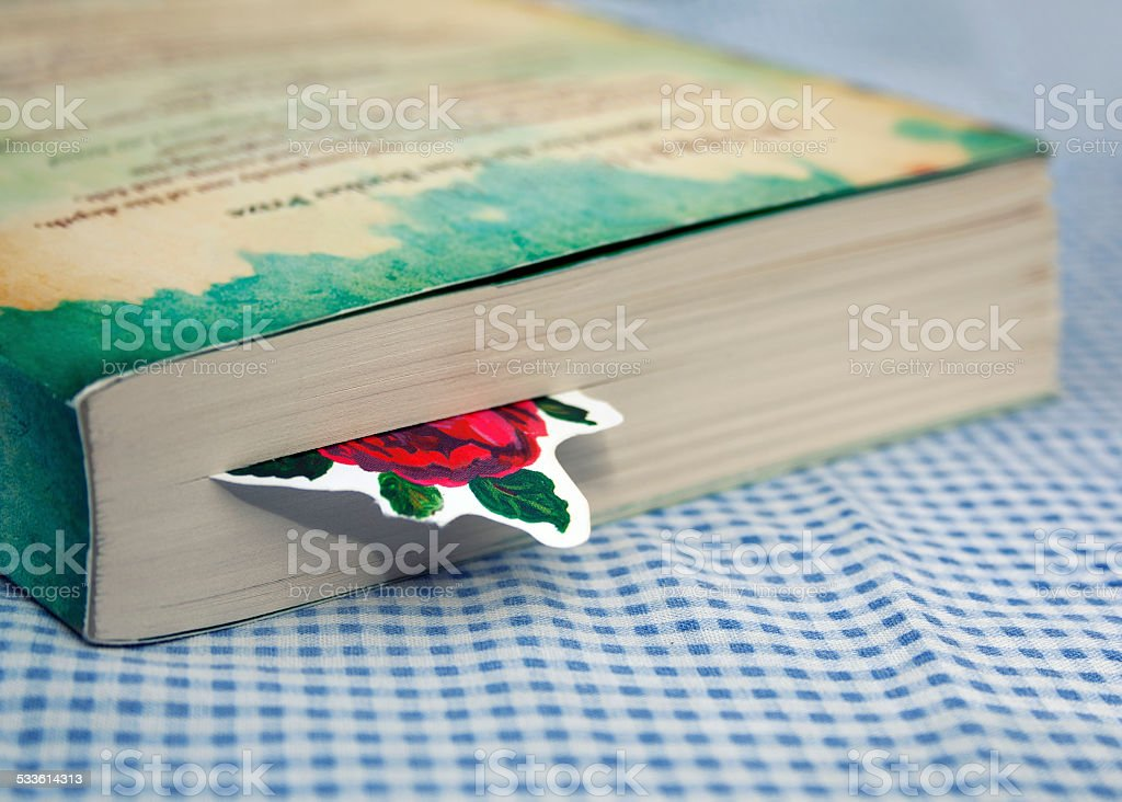 Bookmark in novel stock photo