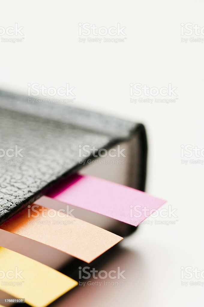 Bookmarks between pages stock photo