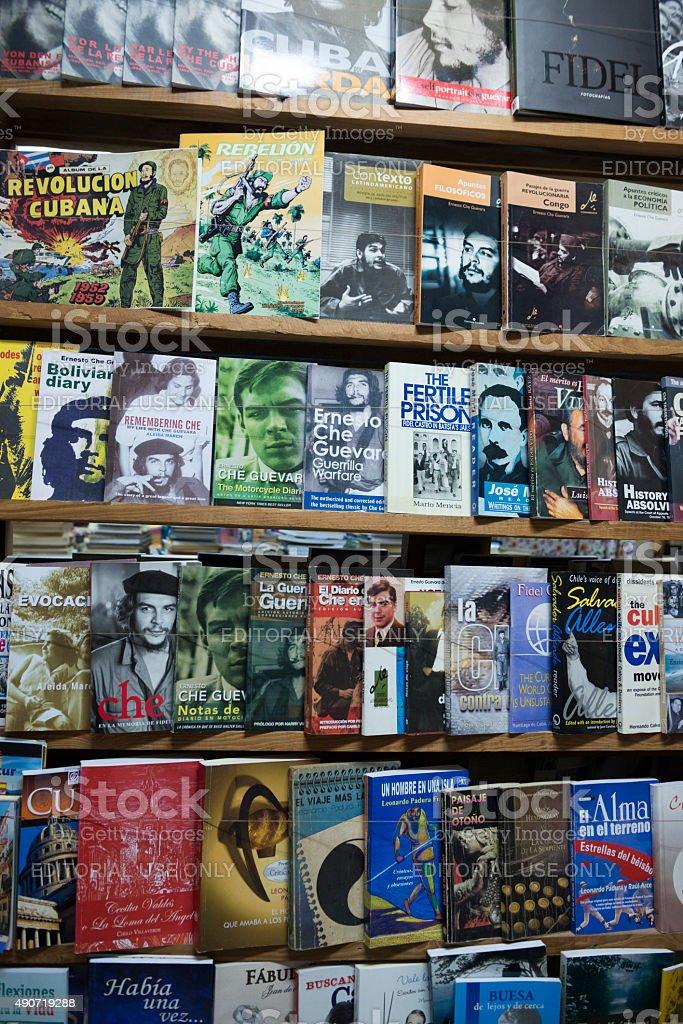 Books about Fidel and Che in Havana, Cuba stock photo