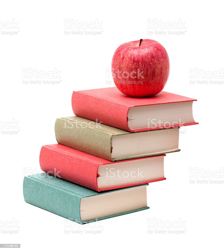 Books and Apple isolated on white background royalty-free stock photo