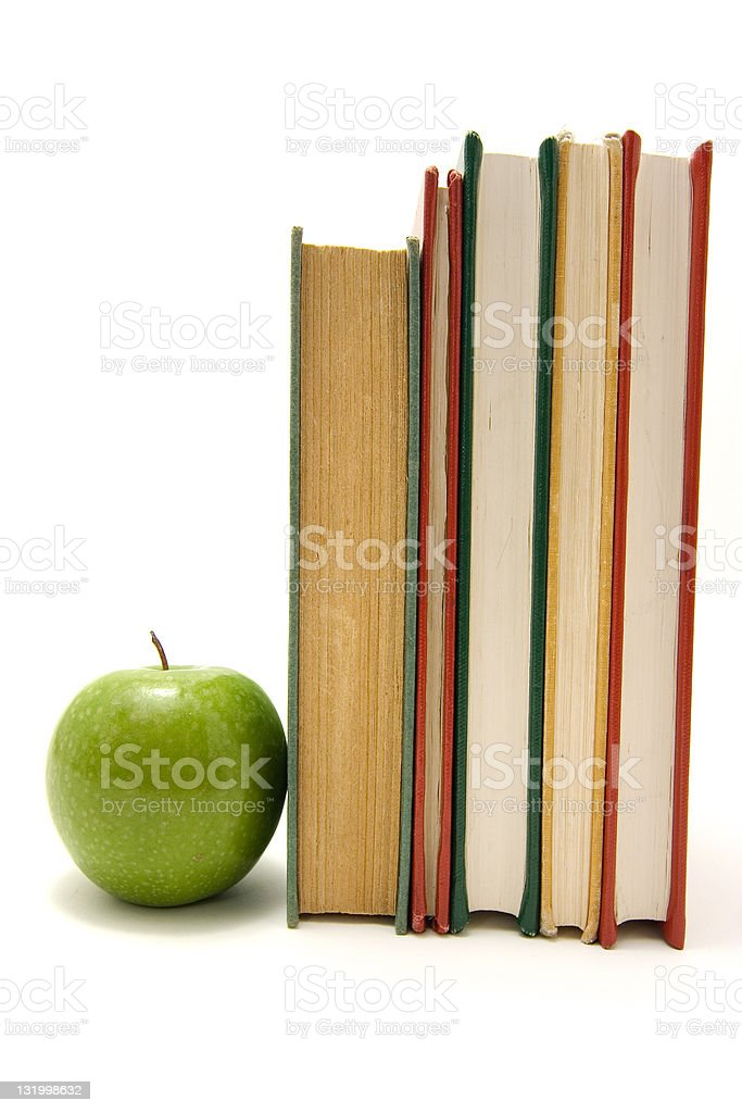Books and apple royalty-free stock photo