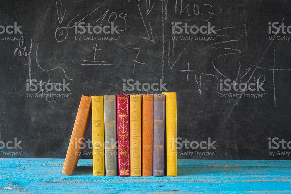 books and black board stock photo