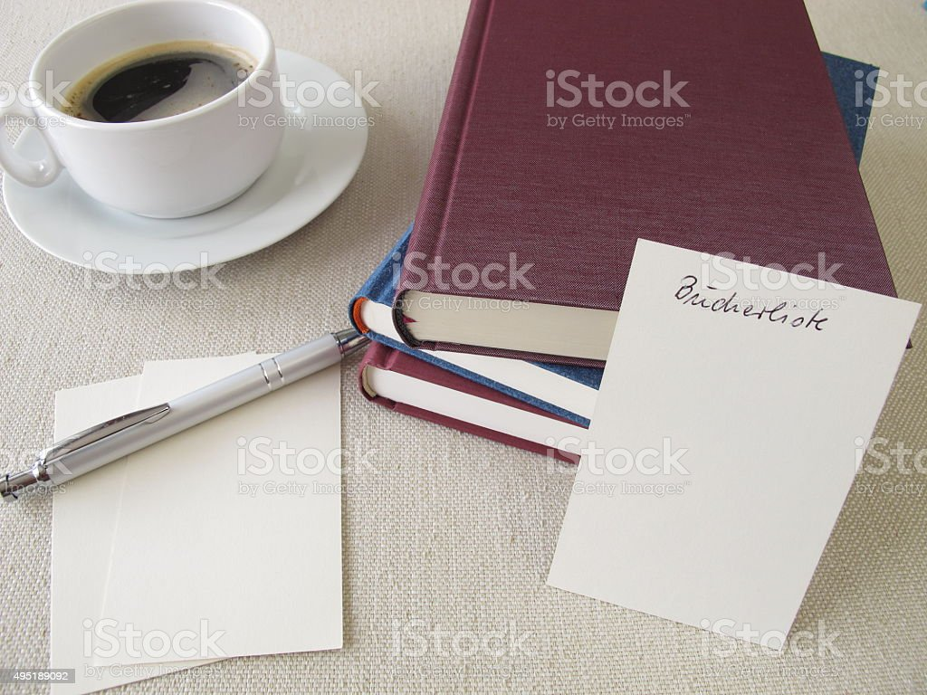 Books and blank booklist stock photo