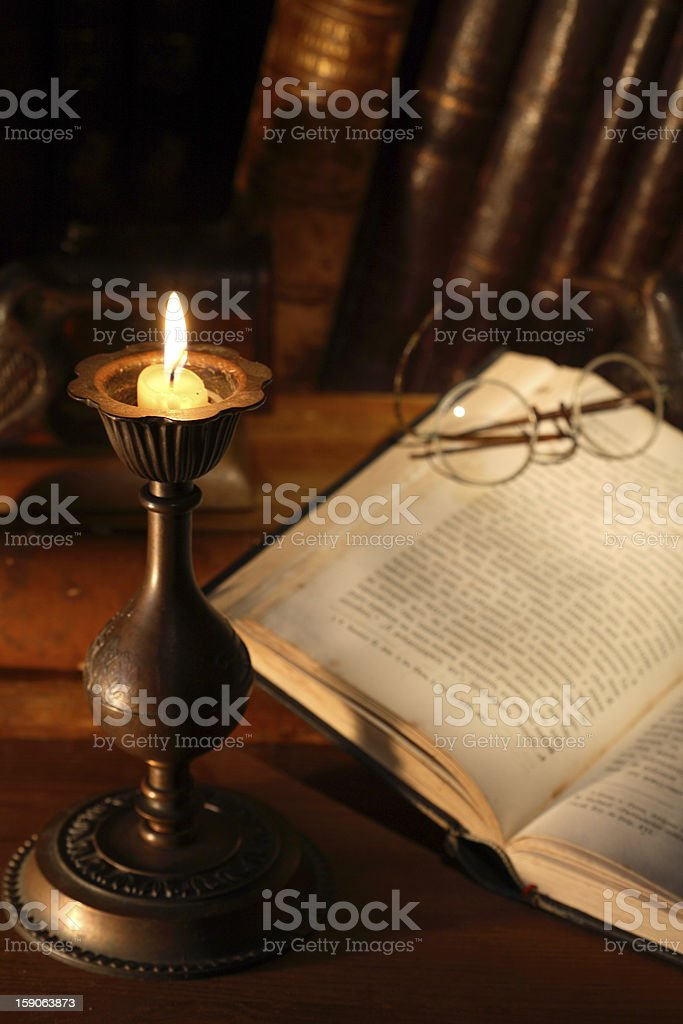 Books And Candle stock photo