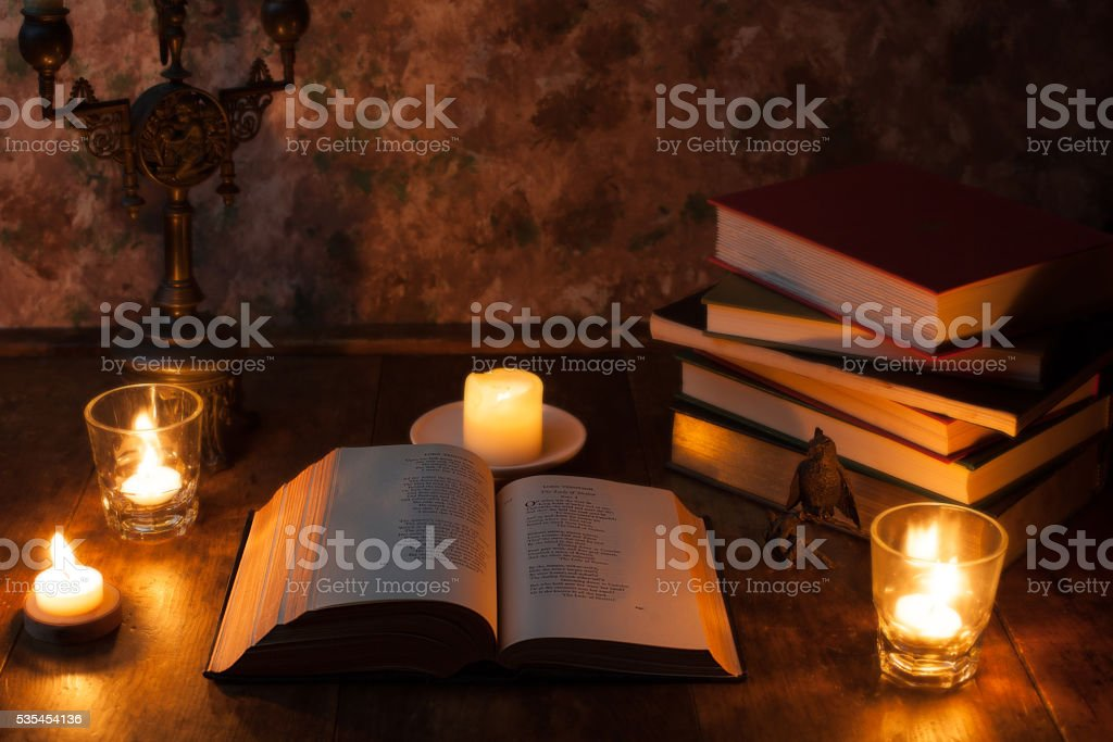 Books and Candlelight stock photo