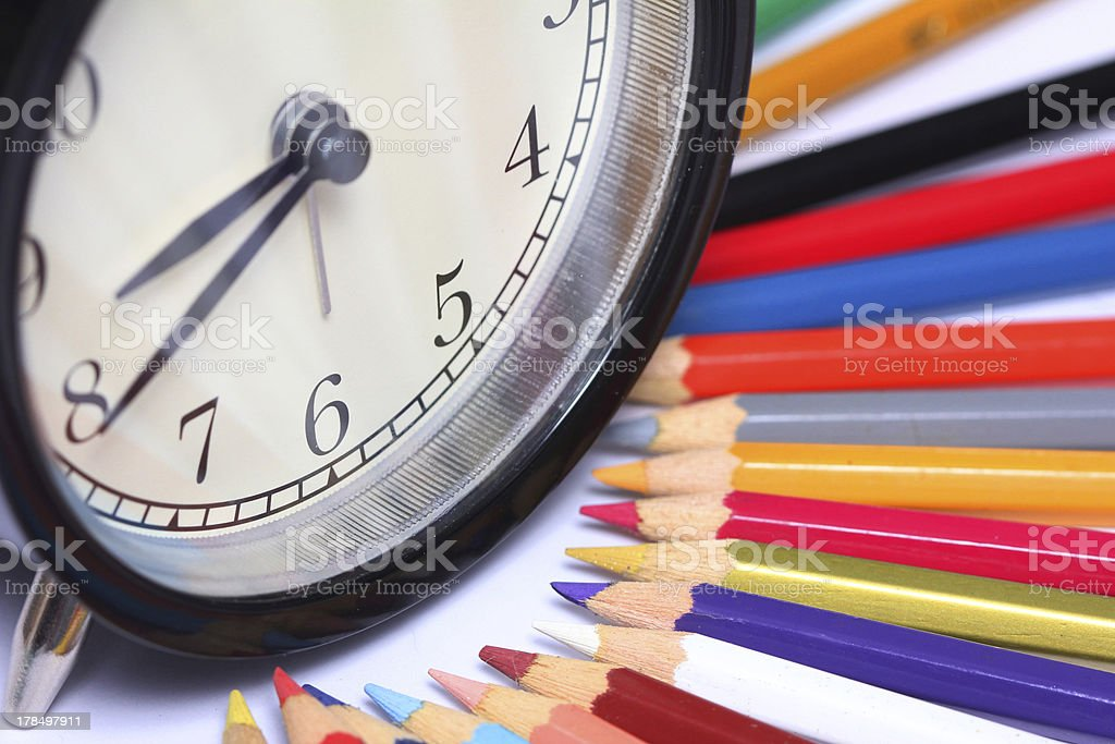 books and colored pencil royalty-free stock photo