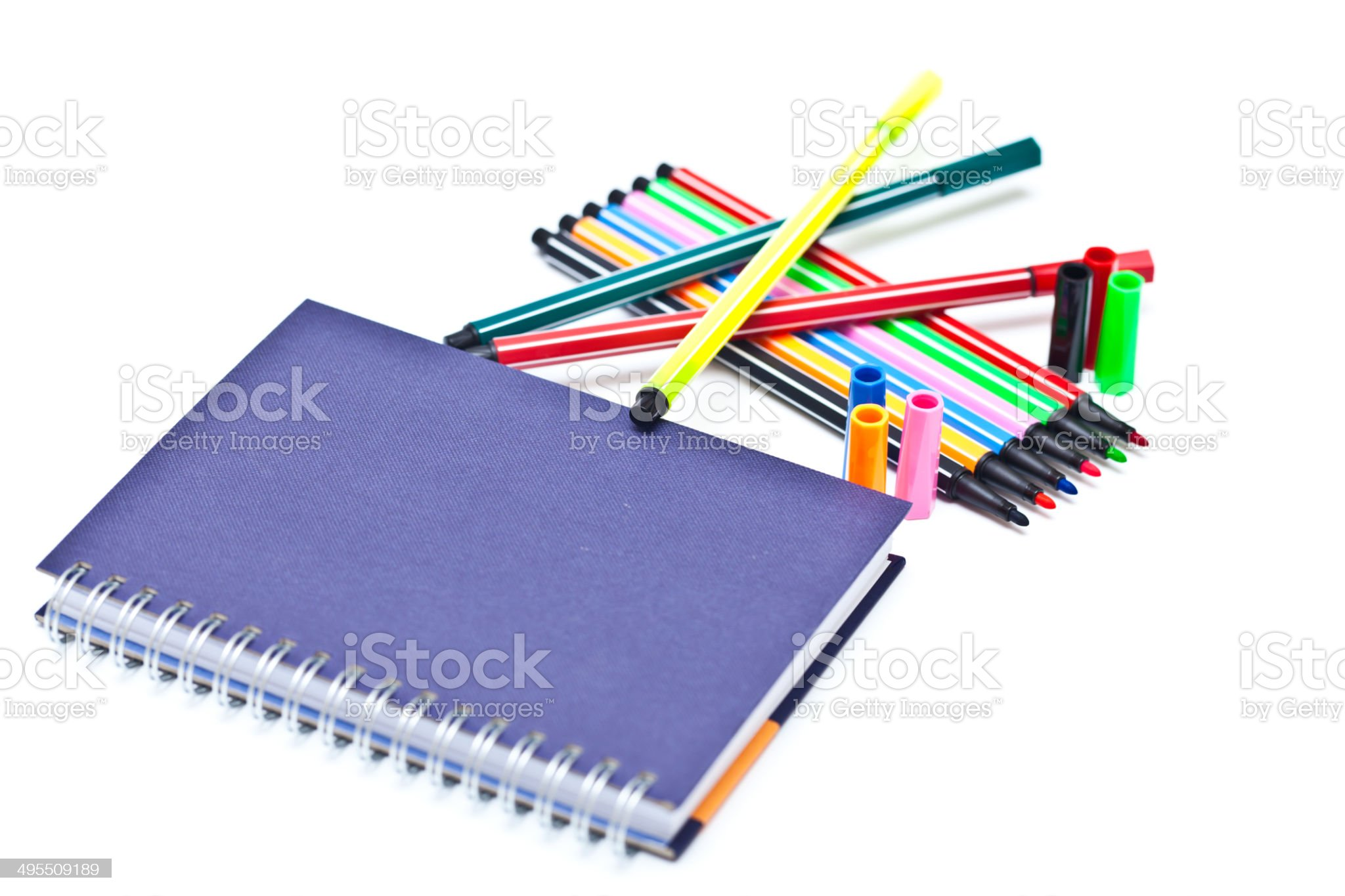 Books and colorful pens royalty-free stock photo