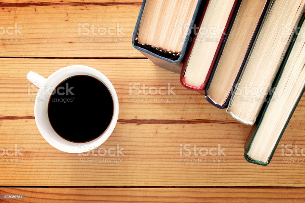 Books and cup stock photo