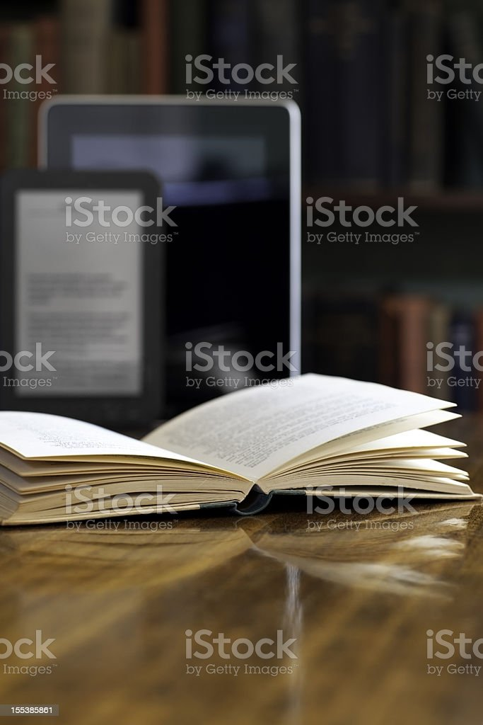 Books and E-readers stock photo