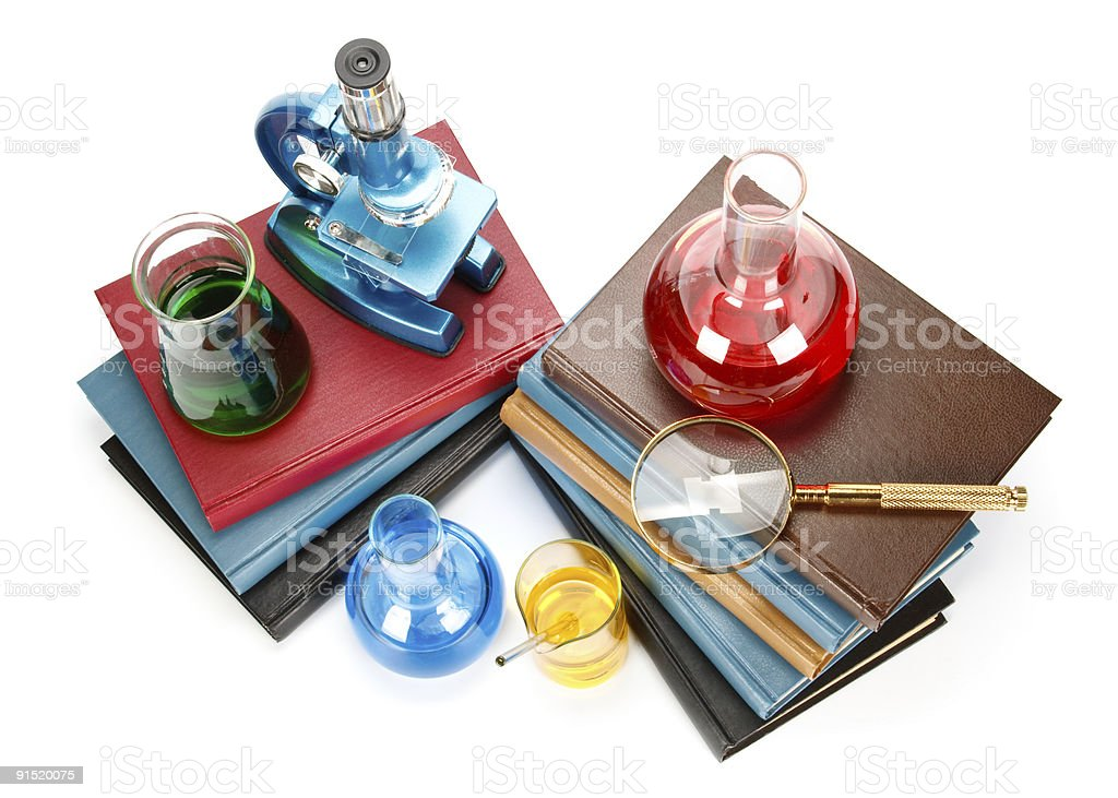 Books and flasks royalty-free stock photo