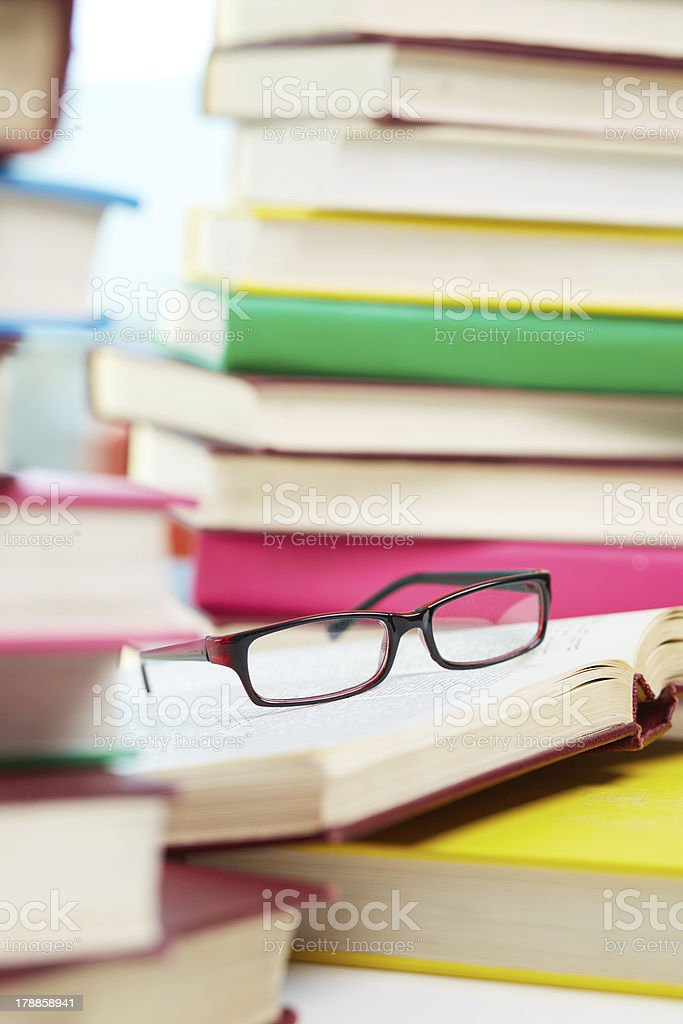 Books and glasses royalty-free stock photo
