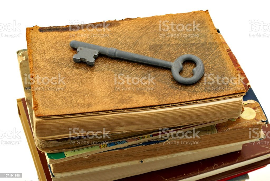 books and key royalty-free stock photo