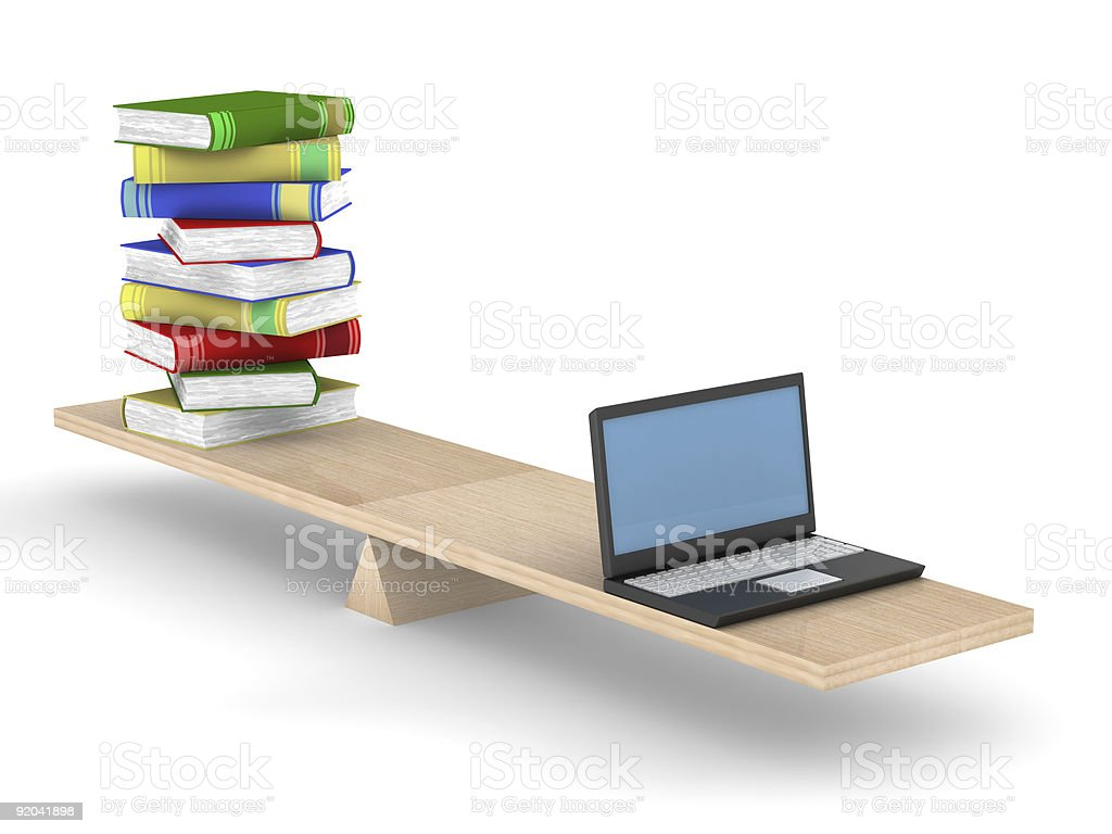 Books and laptop on scales. Isolated 3D image royalty-free stock photo