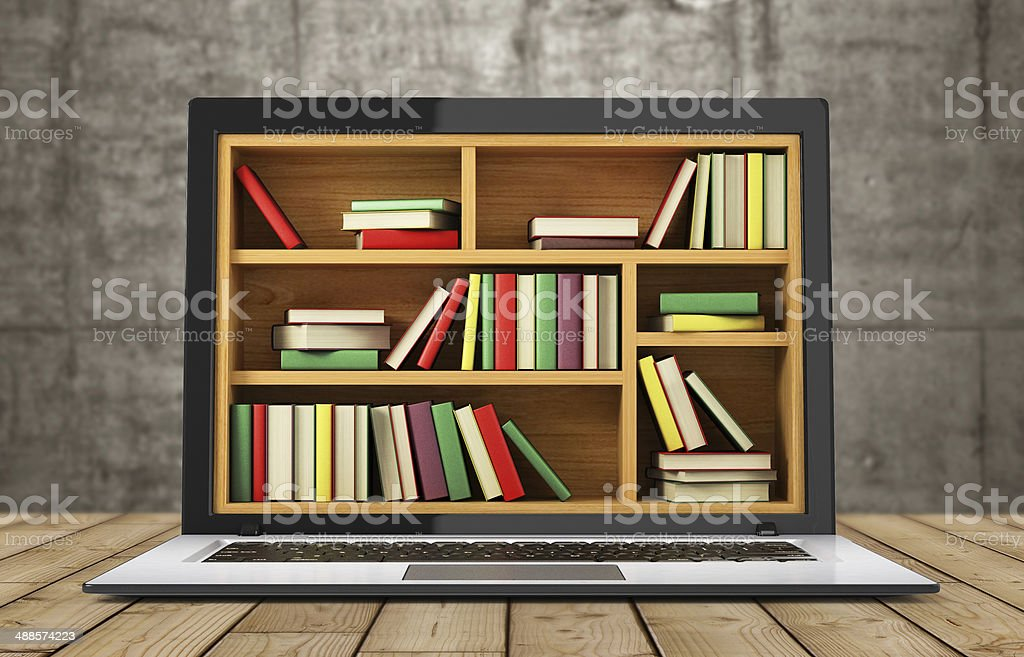 books and laptop royalty-free stock photo