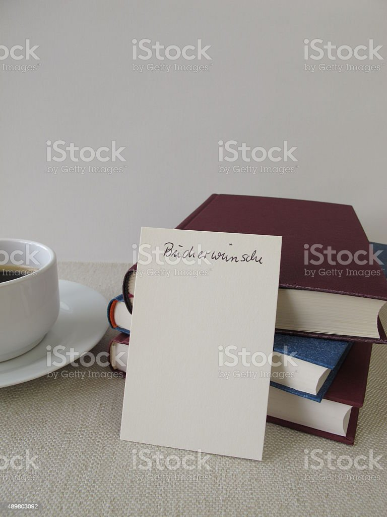 Books and list for book wishes stock photo