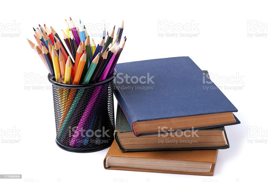 books and pencils royalty-free stock photo