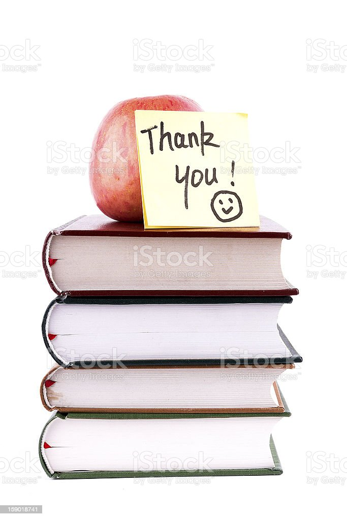 books and thank you isolated on background:back to school royalty-free stock photo