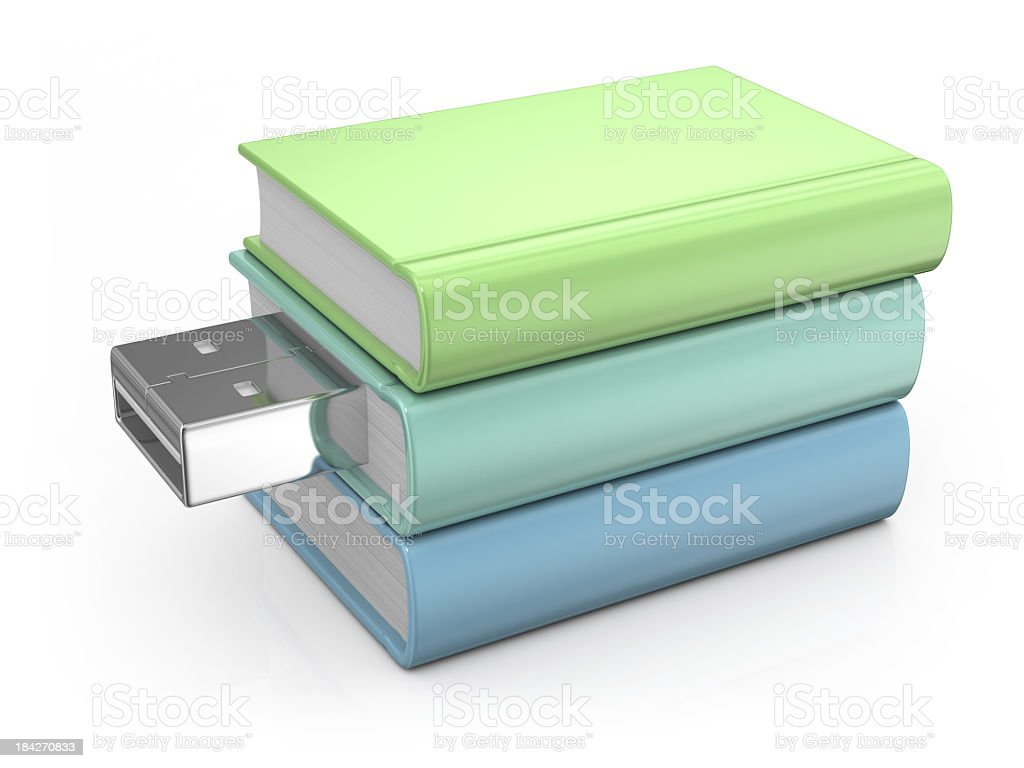 Books and USB Flash Drive royalty-free stock photo