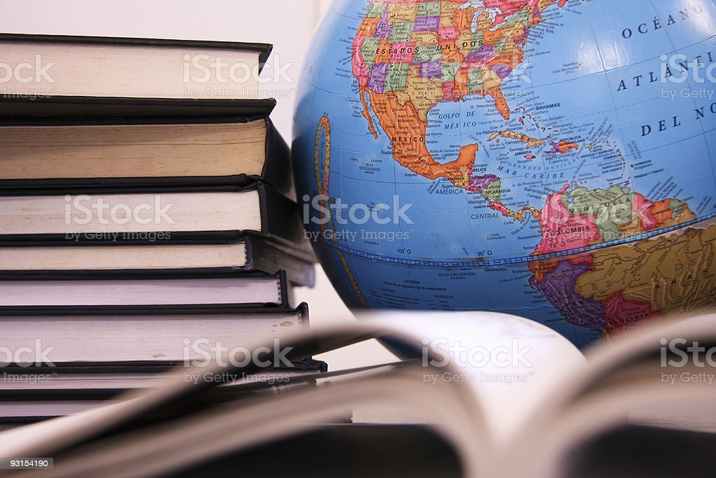 books and world globe royalty-free stock photo