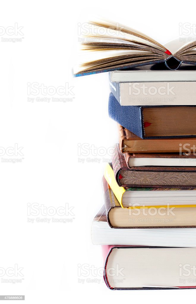 Books arrangement stock photo