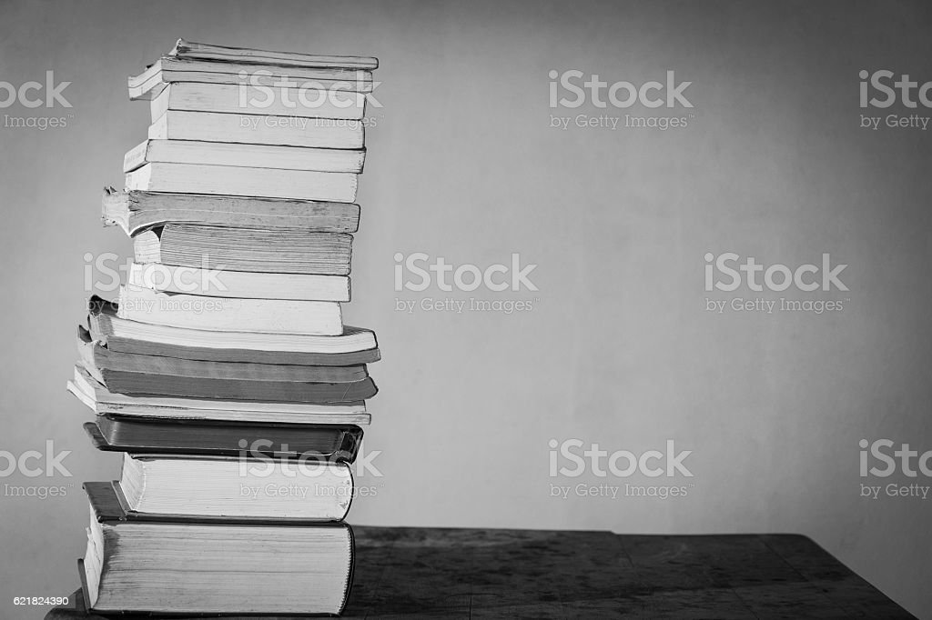 books array together on table stock photo