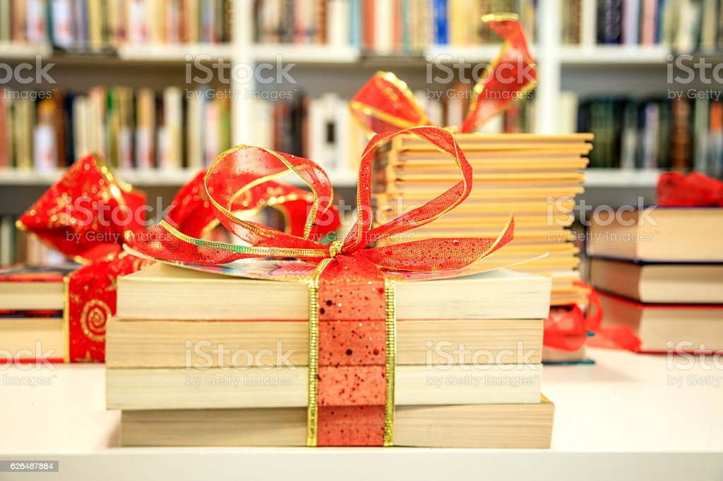 Books with a bow, Christmas present.