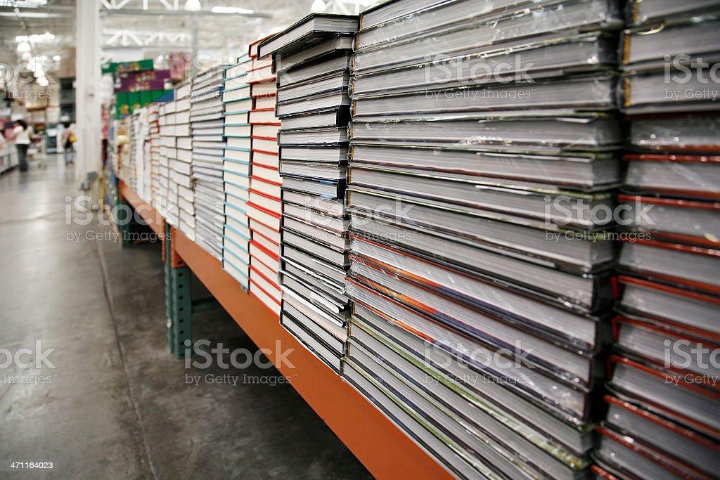 Books at warehouse store stock photo