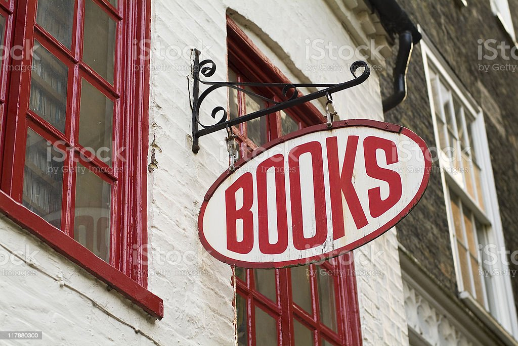 Books: Bookstore sign - English language royalty-free stock photo